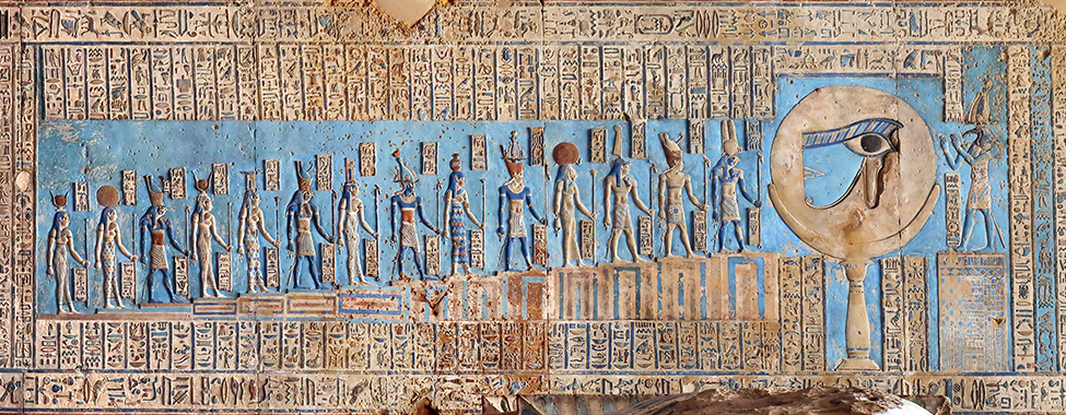 Blue-Hieroglyphic-Carvings-in-Ancient-Egyptian-Temple