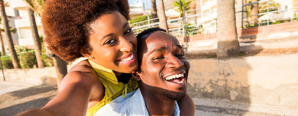 Happy, Stress-Free Couple Taking Selfie