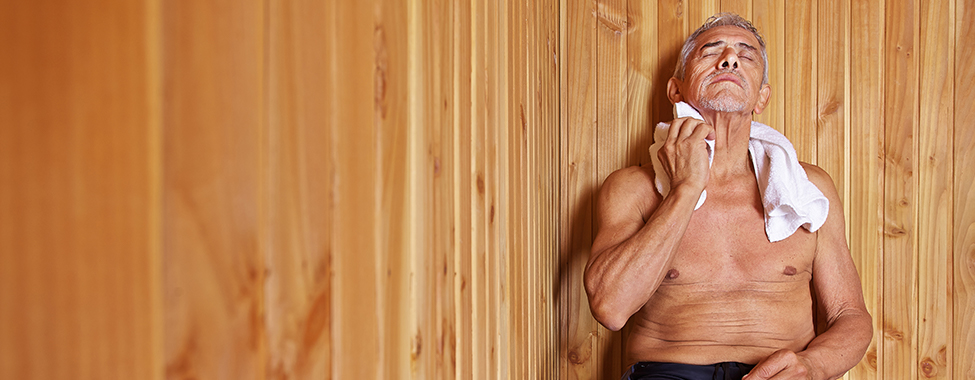 Dad Using Infrared Sauna from Father's Day Gift
