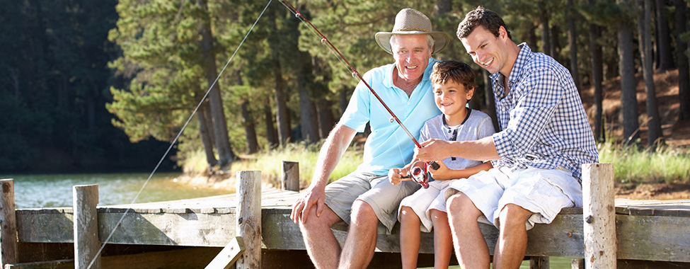 Family Fishing Together on Father's Day