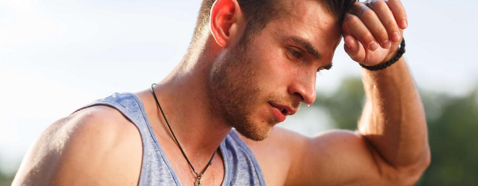 Man Sweating in Summer