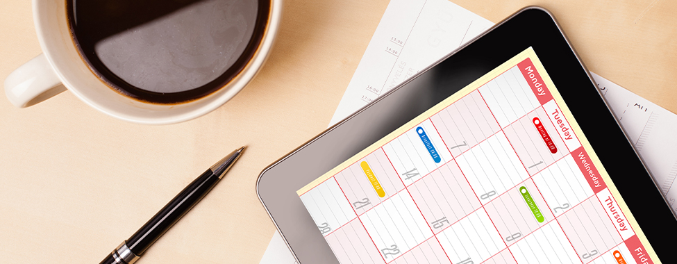 Digital Calendar and Coffee for Daily Routine Working from Home